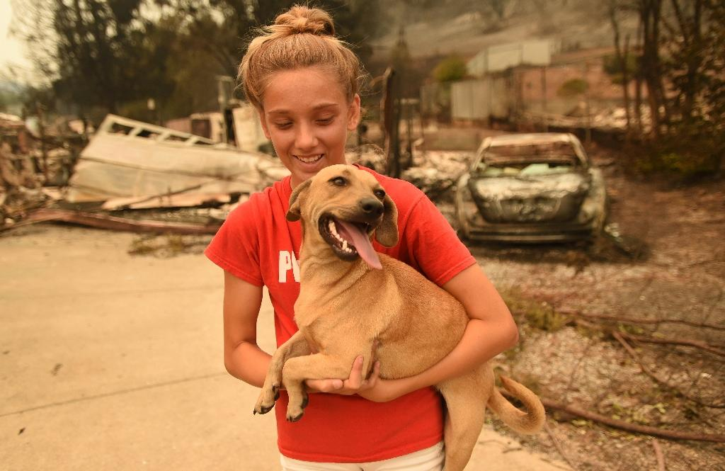 Kambryn Brilz, 12, holds her dog Zoe at her burnt home after the animal was returned safely by a neighbor during the Carr fire in Redding (AFP Photo/JOSH EDELSON)