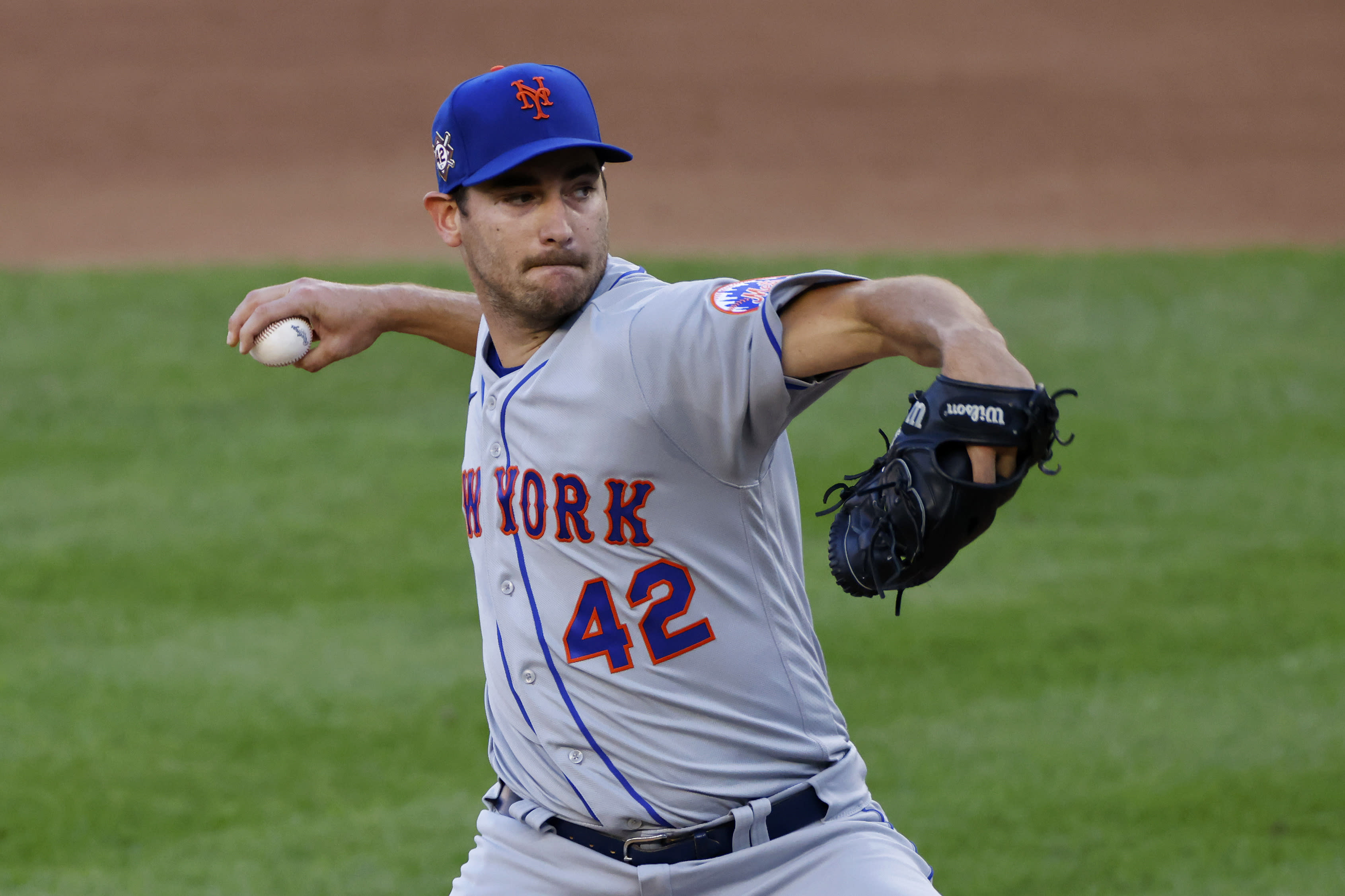 New York Mets pitcher Seth Lugo delivers against the New York Yankees during the third inning of the second baseball game of a doubleheader, Sunday, Aug. 30, 2020, in New York. (AP Photo/Adam Hunger)