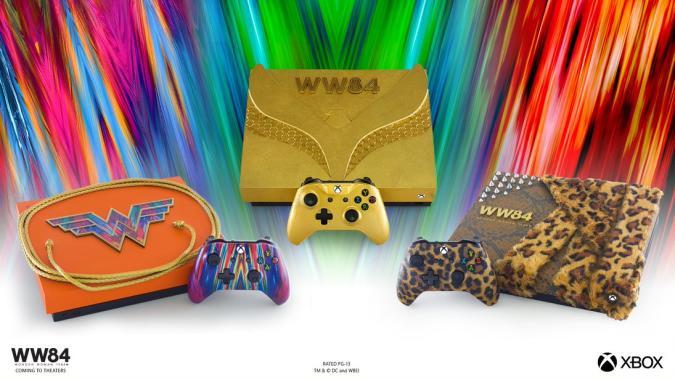 The three Wonder Woman-stylized Xbox One X consoles.