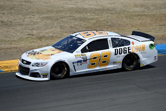 SONOMA, CA - JUNE 26:  Josh Wise, driver of the #98 Dogecoin Chevrolet, practices for the NASCAR Sprint Cup Series Toyota/Save Mart 350 at Sonoma Raceway on June 26, 2015 in Sonoma, California.  (Photo by Rainier Ehrhardt/NASCAR via Getty Images)