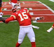 Patrick Mahomes celebrated a playoff touchdown by nearly throwing the ball completely out of the stadium
