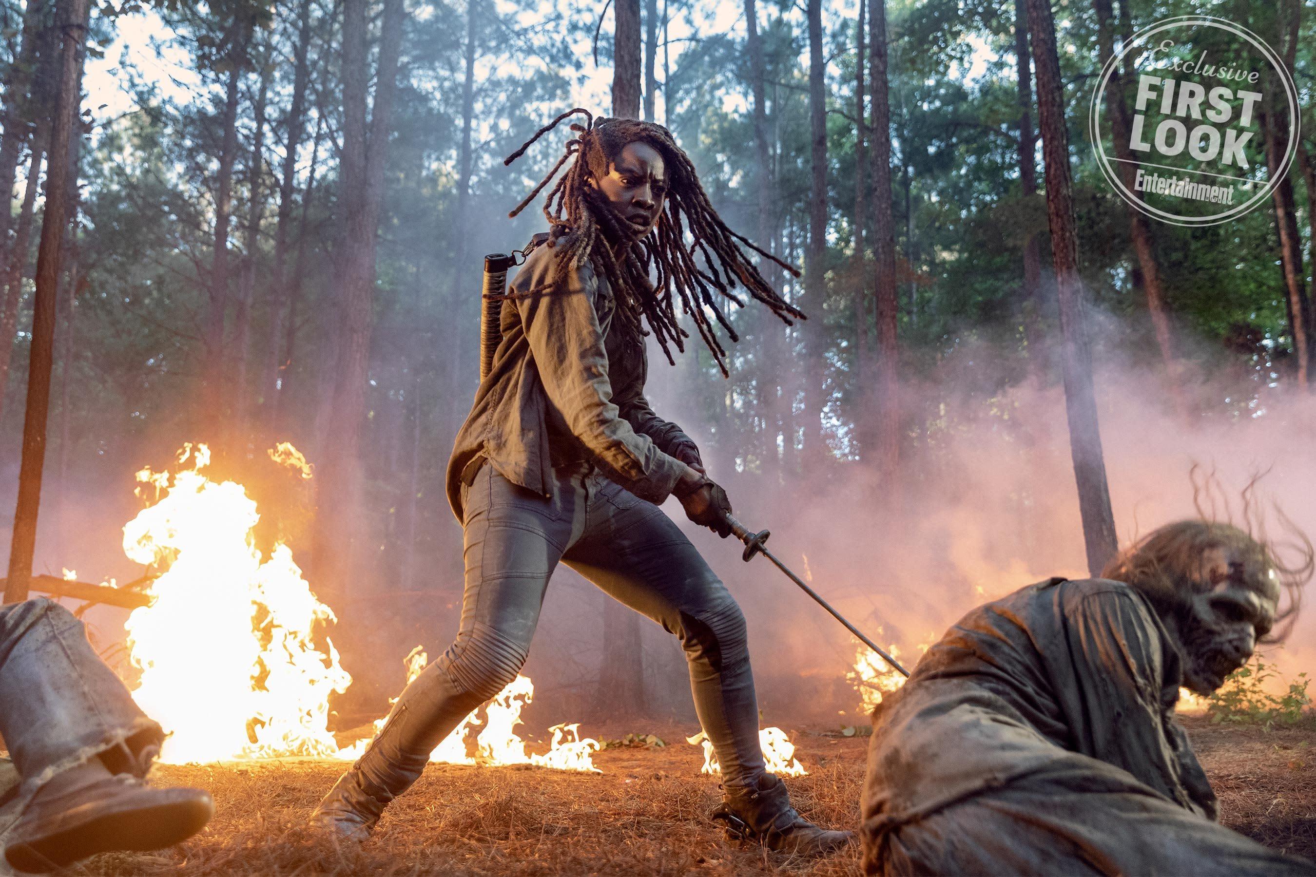 See Michonne in a fiery first image from The Walking Dead season 10