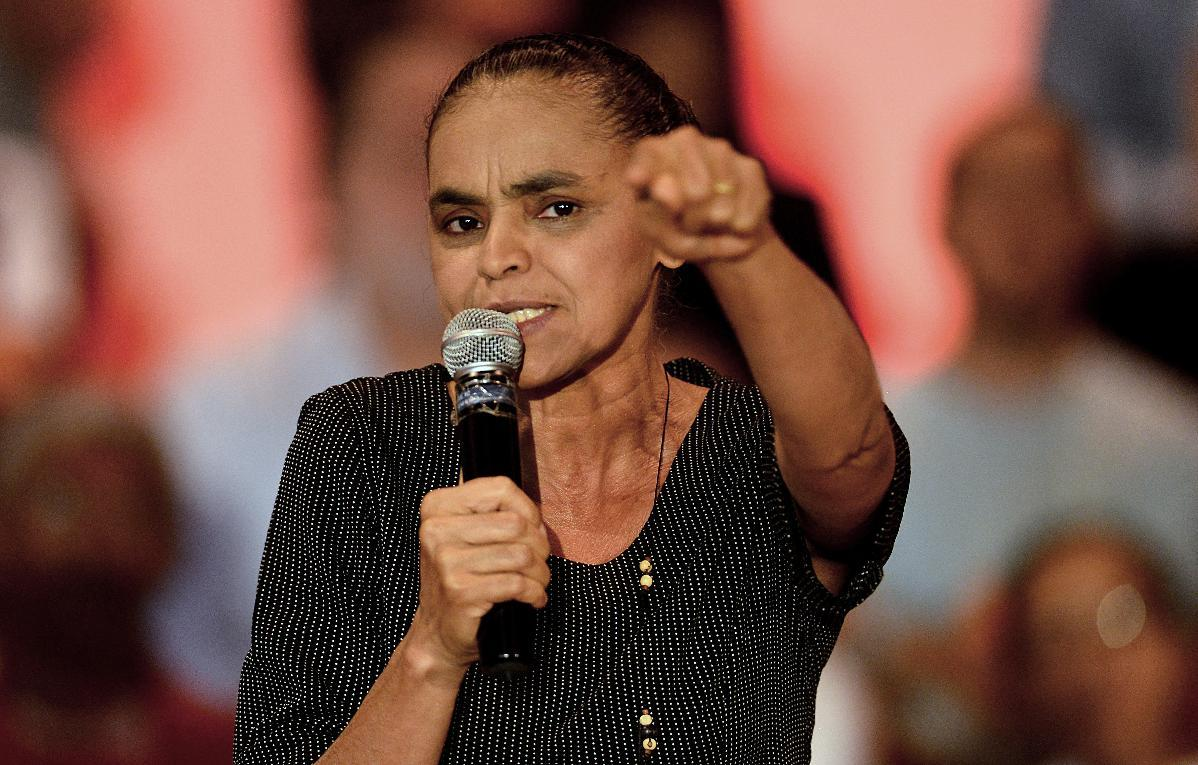 Marina Silva, Brazilian presidential candidate, delivers a speech during the inauguration ceremony of the new REDE party, in Brasilia, on February 16, 2013 (AFP Photo/Pedro Ladeira)