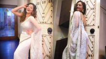 Ankita Lokhande Stuns in Gorgeous White Saree As She Shares Secret to Staying 'Happy'