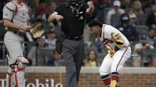 Braves' Acuña hit by pitch from Phils' Coonrod, leaves game