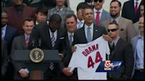 Big Papi gives President Obama Red Sox jersey, takes selfie
