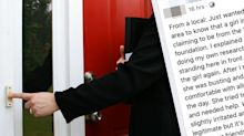 'I was scared': Residents' warning over night-time 'charity door knockers'
