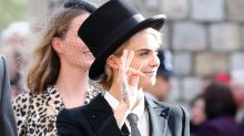 Cara Delevigne Goes Stag in a Tux to Princess Eugenie's Wedding