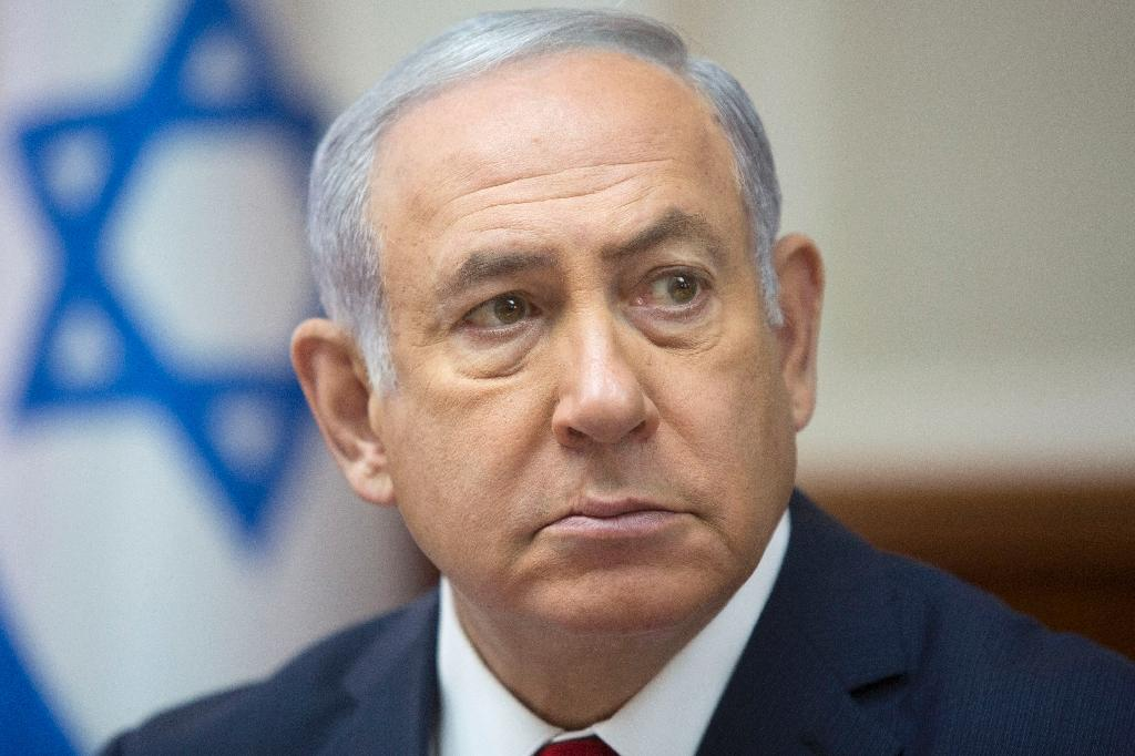 Israeli Prime Minister Benjamin Netanyahu attends the weekly cabinet meeting at his office in Jerusalem on September 16, 2018 (AFP Photo/Sebastian Scheiner)