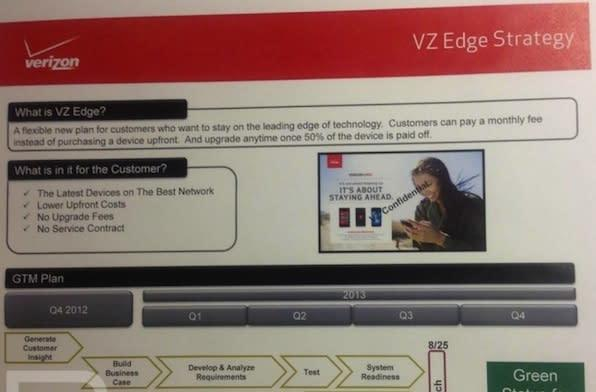 Verizon leak shows VZ Edge upgrade program: trade your phone in once you've paid off half of it