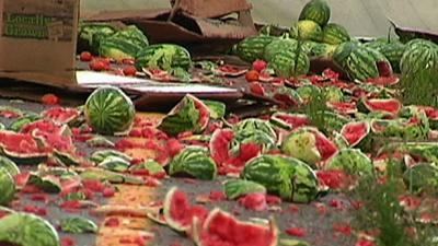 Raw Video: Splat! Watermelon Crash in Kentucky