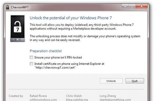ChevronWP7 unlocking tool pulled in hopes Microsoft decides to play along