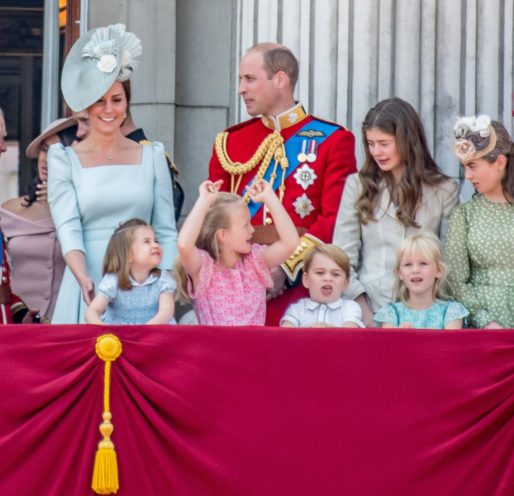 Prince William Duke of Cambridge, Catherine Duchess of Cambridge, Prince George, Princess Charlotte and Savannah Philips as the children steal the show during Trooping the Colour ceremony, marking the monarch's official birthday, in London. (Photo by DPPA/Sipa USA)