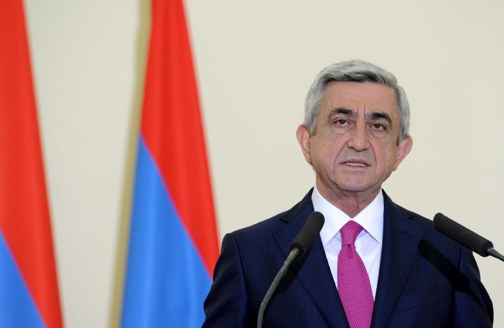 """Armenian President Serzh Sarkisian, pictured here in Yerevan on May 13, 2014, said Turkey is """"trying to divert world attention"""" from the 100th anniversary of the massacre of more than a million Armenians by Ottoman forces"""