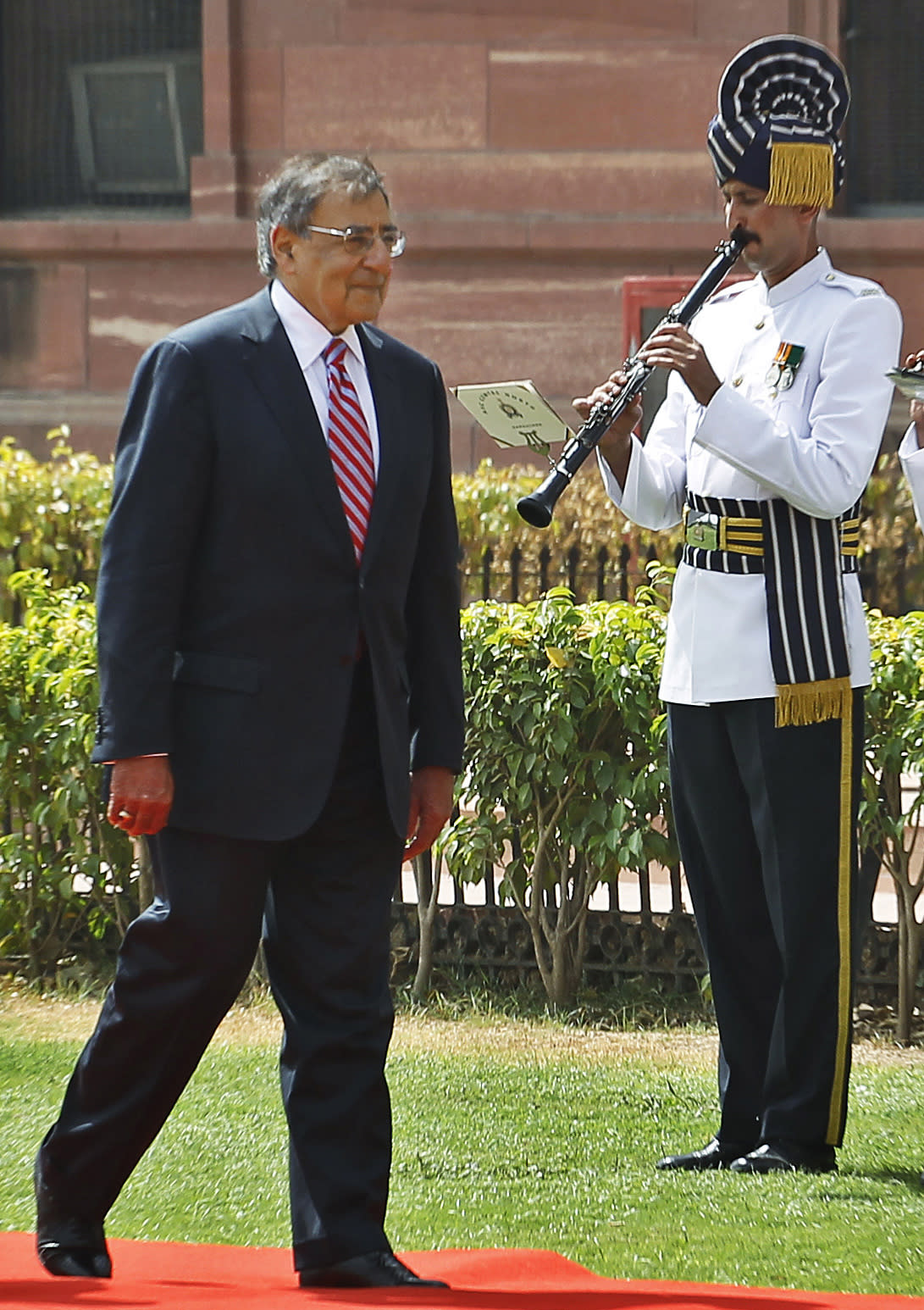 U.S. Defense Secretary Leon Panetta inspects a guard of honor in New Delhi, India, Wednesday, June 6, 2012. Panetta is urging leaders of India to play a more robust role in Afghanistan, as U.S. tensions with Pakistan, India's arch-rival, continue to churn. (AP Photo/Saurabh Das)