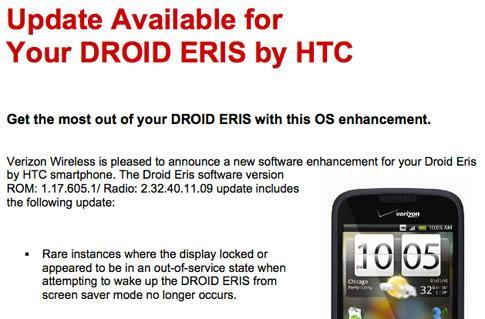 HTC Droid Eris gets an ultra-minor update