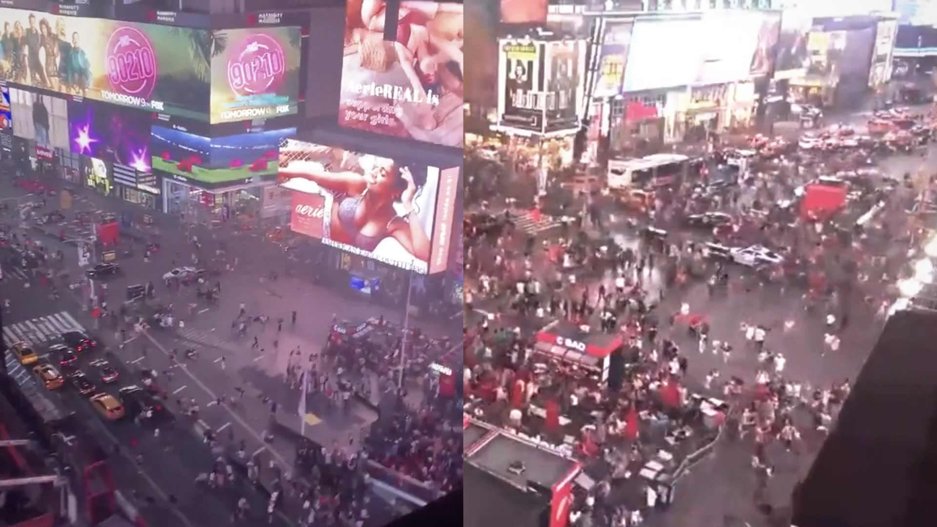 People Run For Their Lives in Times Square After Mistaking Motorcycle  Backfiring For Gunshots