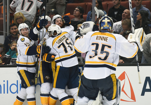 ANAHEIM, CA - MAY 12: Nashville Predators Right Wing James Neal (18) celebrates with Nashville Predators Defenceman P.K. Subban (76), Nashville Predators Defenceman Mattias Ekholm (14), Nashville Predators Center Calle Jarnkrok (19), .and Nashville Predators Goalie Pekka Rinne (35) after scoring the game winning goal in the first overtime period during game 1 of the 2017 NHL Western Conference Final between the Nashville Predators and the Anaheim Ducks on May 12, 2017 at Honda Center in Anaheim, CA. The Predators defeated the Ducks 3-2 in overtime. (Photo by Chris Williams/Icon Sportswire via Getty Images)