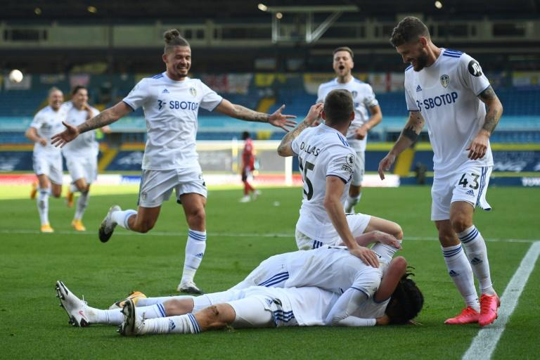 Leeds United celebrate after scoring their fourth against Fulham