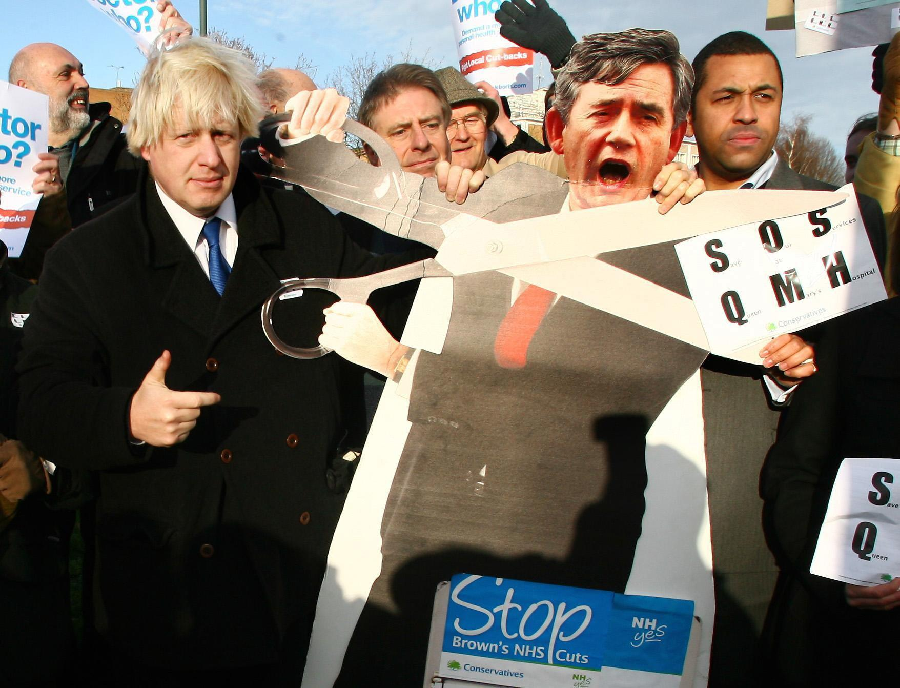 Boris Johnson (left) joins the Save our Services campaign against health cuts at St, Mary's Hospital in Sidcup, Kent.