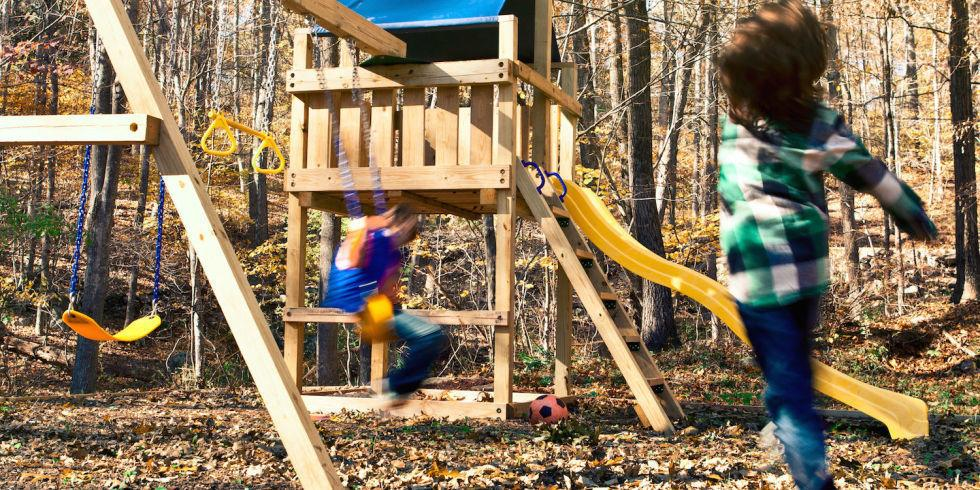 """<p>Kids should play outdoors as much as possible, and providing them with a safe and adventurous swing set will help.</p><p><a href=""""http://www.popularmechanics.com/home/outdoor-projects/how-to/a7670/how-to-build-this-backyard-swing-set/"""" rel=""""nofollow noopener"""" target=""""_blank"""" data-ylk=""""slk:How to Build a Wooden Swing Set"""" class=""""link rapid-noclick-resp"""">How to Build a Wooden Swing Set</a></p>"""