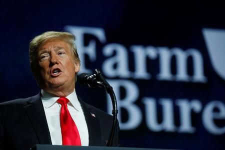 U.S. President Donald Trump addresses the National Farm Bureau Federation's 100th convention in New Orleans, Louisiana, U.S., January 14, 2019. REUTERS/Carlos Barria