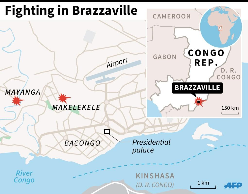 Map of Brazzaville locating Monday's clashes in the south of the city (AFP Photo/Jean Michel Cornu, Laurence Saubadu)
