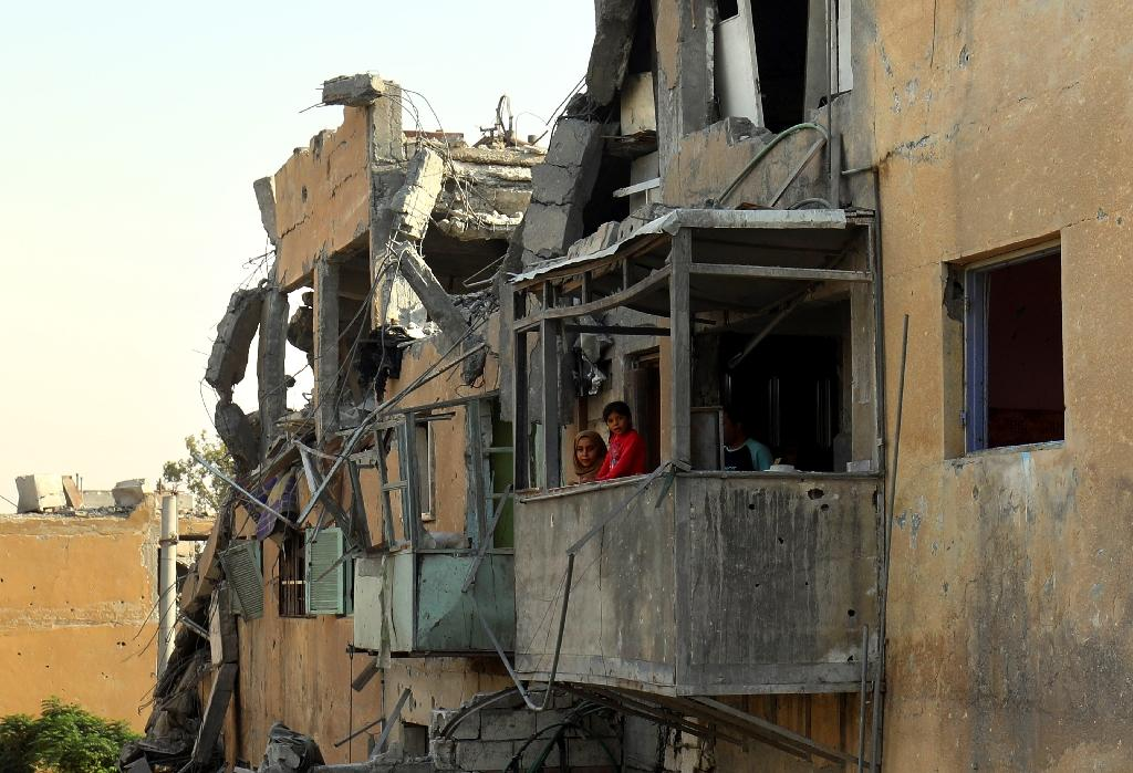 Human Rights Watch says civilians were killed in a March air strike by the US-led coalition on a bakery in the Syrian town of Tabqa, shown here in September 2017