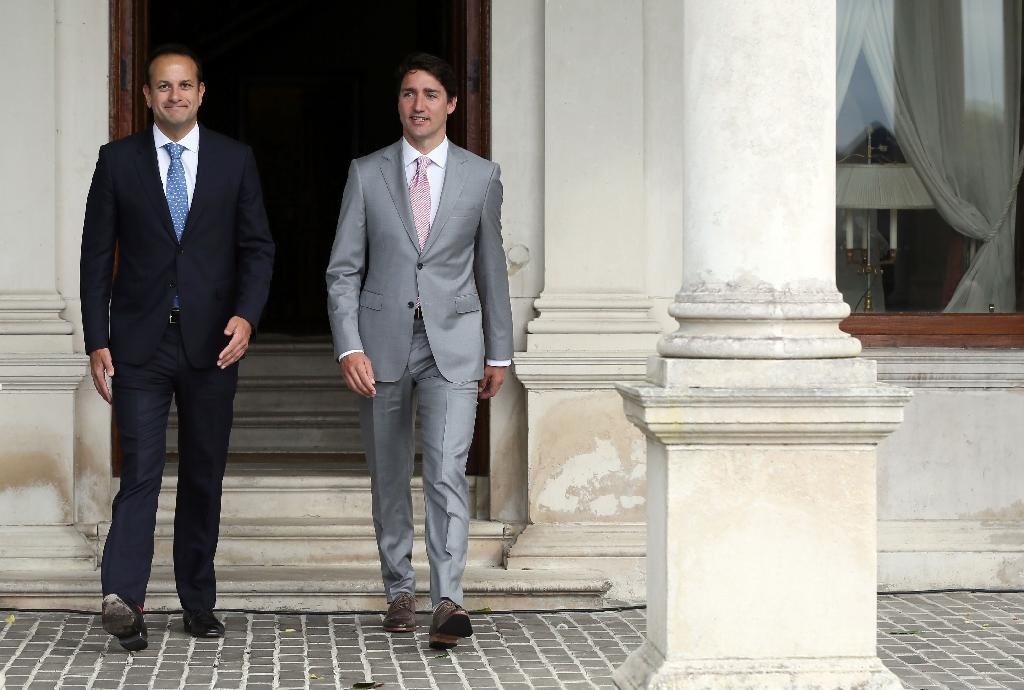 Ireland's Prime Minister Leo Varadkar, left, with Canadian Prime Minister Justin Trudeau at Farmleigh, Ireland's state guest house, in Dublin