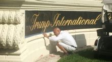 Red paint splashed across Trump golf club sign in Florida