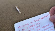 Woman's desperate search for boy after finding message in a bottle