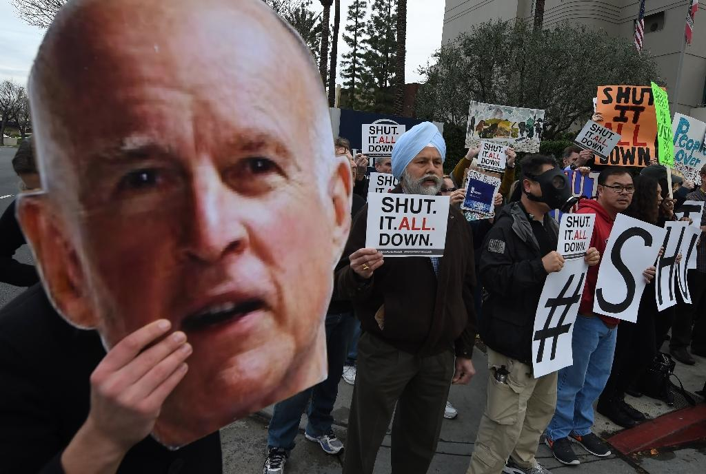 The biggest gas leak in California's history has forced nearly 4,500 families living in the Porter Ranch area, some seen here protesting outside a meeting of the Air Quality Management Board in Los Angeles on January 23, 2016, to relocate