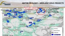 Midland Announces the Acquisition of a 60-km-Long Strategic Position to the East of the Sunday Lake Fault