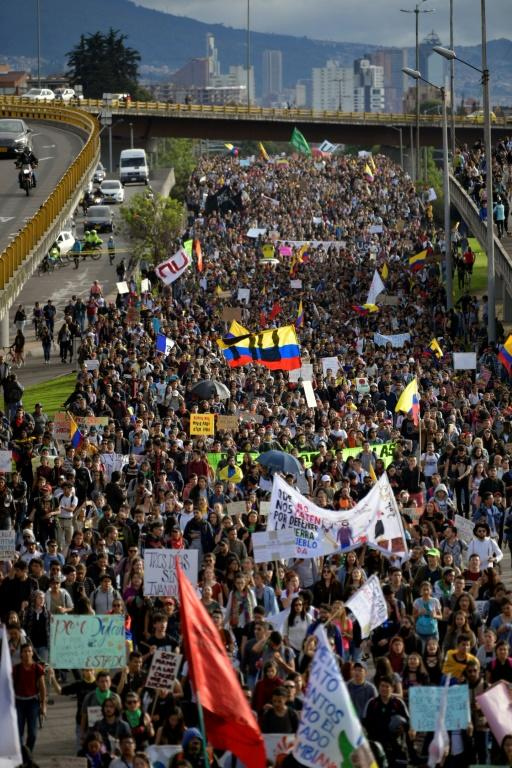 Anti-government demonstrators take to the streets of Bogota on Monday in Colombia's second general strike in a week (AFP Photo/Raul ARBOLEDA)