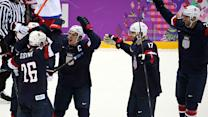 Team USA hockey players react to win over Russia