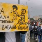 Crowd Gathers in Minsk for 'People's Inauguration of Tsikhanouskaya' Demonstration