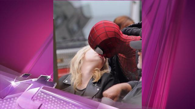 Entertainment News Pop: Emma Stone Modifies The Upside Down Spider-Man Kiss With Andrew Garfield On Set!