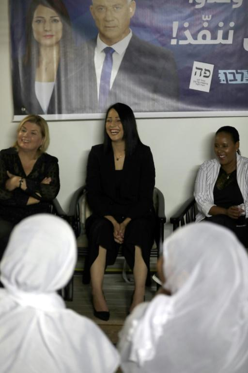 Penina Tamanu-Shata (R), Orna Barbivay (L), and Gadeer Kamal Mreeh (C) give a conference in the Israeli Druze village of Daliyat al-Karmel on August 29, 2019 (AFP Photo/JALAA MAREY)