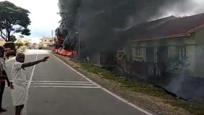Several Houses Burn After Fuel Tanker Explodes in Chikkamaguluru