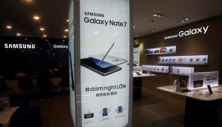An advertisement of Samsung Galaxy Note 7 is seen at a mobile phone shop in Hanoi