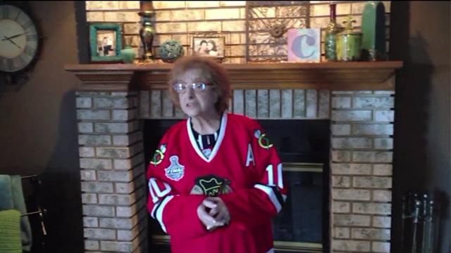 Grandma sings her heart out for the Blackhawks