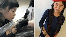 Nine-year-old girl follows in dad's footsteps to become tattoo artist