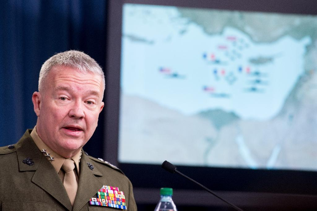 Lieutenant General Kenneth . McKenzie briefs the press on the stikes against Syria, at the Pentagon in Washington, DC, on April 14