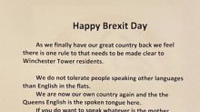 Police investigate 'Brexit Day' poster saying that 'speaking other languages than English' will not be tolerated