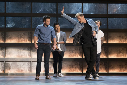 Andrew Butcher, Sergio Calderon, Nick Carter and Miles Wesley on ABC's Boy Band. (Photo Credit: Eric McCandless/ABC)