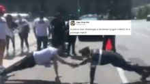 WATCH: Cop Challenges Gym Trainer for a Push-up Battle During Lockdown Protests in Mexico