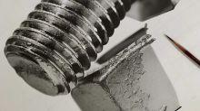 Usando apenas lápis preto, artista cria imagens tridimensionais que impressionam