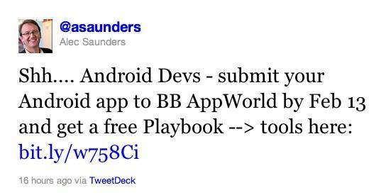 Develop an Android app, get a free Blackberry PlayBook