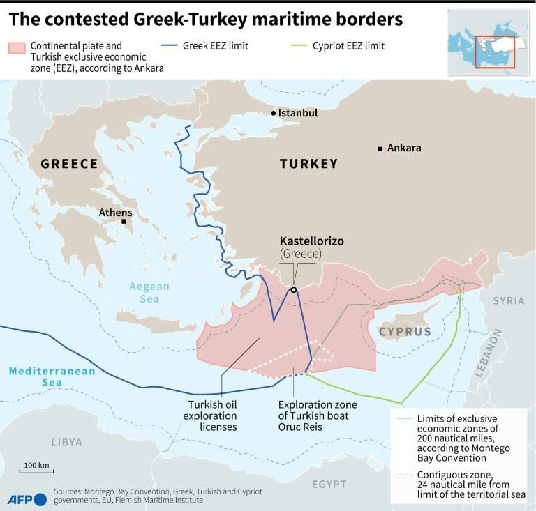 The contested Greek-Turkey maritimes borders