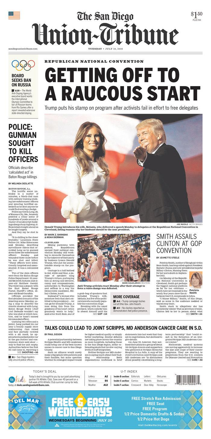 <p>Published in San Diego, Calif. USA. (newseum.org)</p>